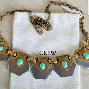 J Crew Turquoise Silver Gold Statement Necklace